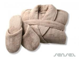 Fleece Bathrobe and Slipper Sets
