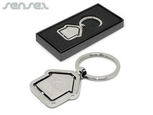 Rotating House Metal Keychains