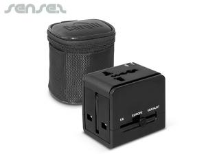 Square Travel Adaptors with Carry Case