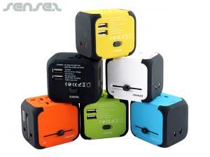 Coloured USB International Travel Adapters