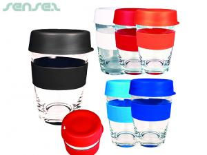 Eden Glass Reusable Coffee Cups With Silicon Band (340ml)