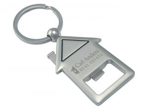 House Shaped Metal Keyrings With Bottle Opener