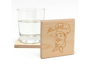 Engraved Chunky Plywood Coasters - Square (9mm)