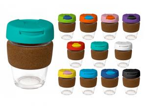 India Glass Cups mit Flip Lid & Cork Band (340ml)