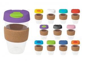 Flip Lid Plastic Reusable Cups With Cork Band (535ml)
