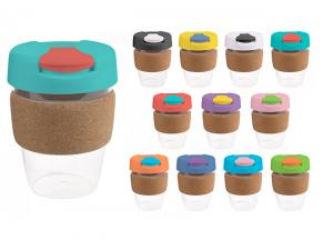 Flip Lid Plastic Reusable Cups With Cork Band (340ml)