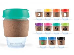 Mix&Match Flip Lid Glass Coffee Cups With Cork Bands (320ml)