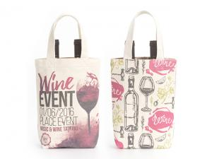 Cotton Canvas Double Wine Bottle Bags (12oz)