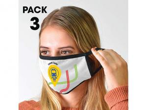 Pack Of 3 White Cotton Face Masks - 3 Layer (150gsm)