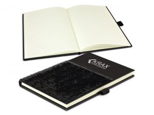 Hard Cover Notebooks With Sequins Panel (A5)