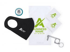 Hygienic Sets With Reusable Face Mask And Anti Contact Keyring