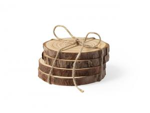 Natural Pine Wood Coaster Sets (4Pcs)
