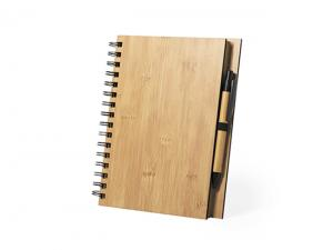 Bamboo Spiral Notebooks With Pens (A5)