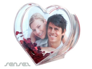 Liquid Filled Heart Shaped Photo Frames