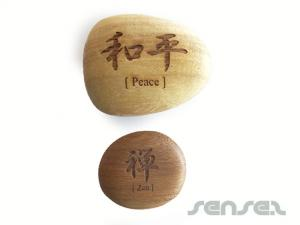 Wooden Logo Pebbles