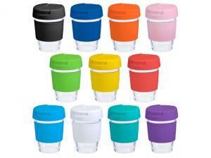 Glass Cups with Flip Lids (340ml) 12oz