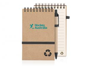 Recycled Paper Spiral Bound Notepads With Elastic And Pen (Small)