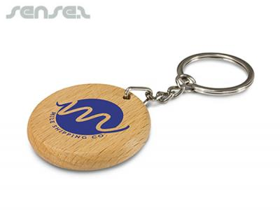 Wooden Oak Key Rings Round