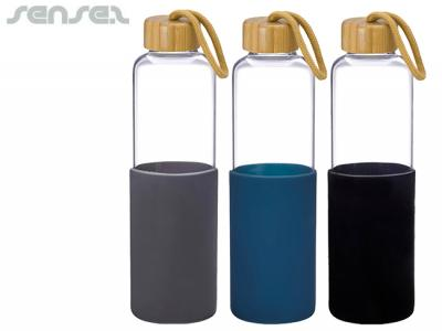 Natural Bamboo Glass Drink Bottles With Silicon Sleeve (550ml)