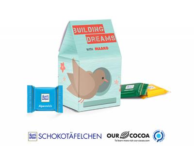 Eco Paper Stand-Up Boxes Filled With Ritter Sport Chocolates (30g)