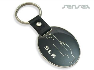 Enamel Key Chains With Leather Tag